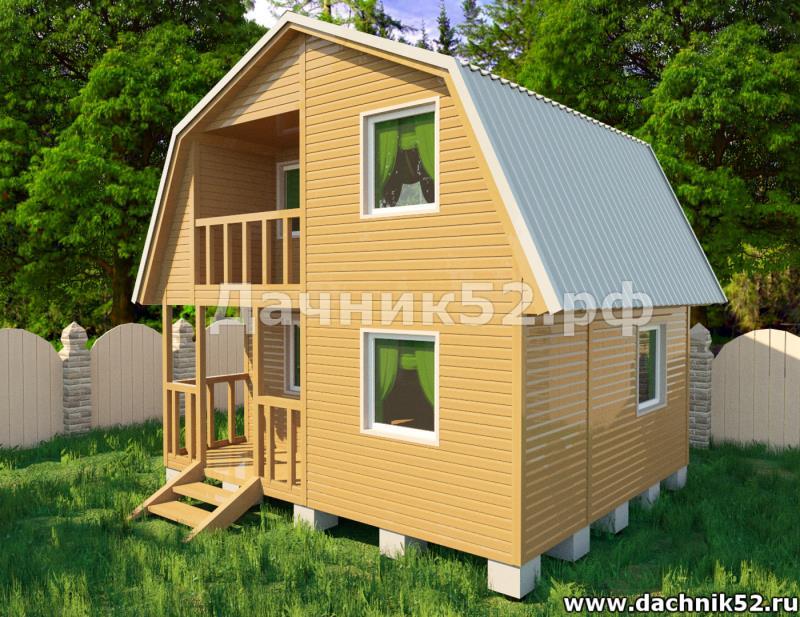 Каркасный дом 5х6 с мансардой проект Звезда
