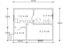 Планировка домика 5х6 каркасного дачного
