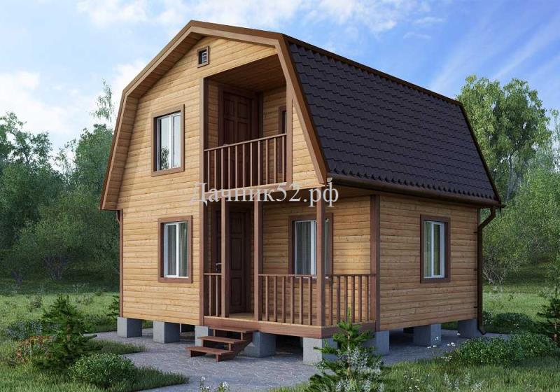Каркасный дом Рябинушка с мансардой 6х6