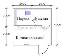 План каркасной бани 4х4