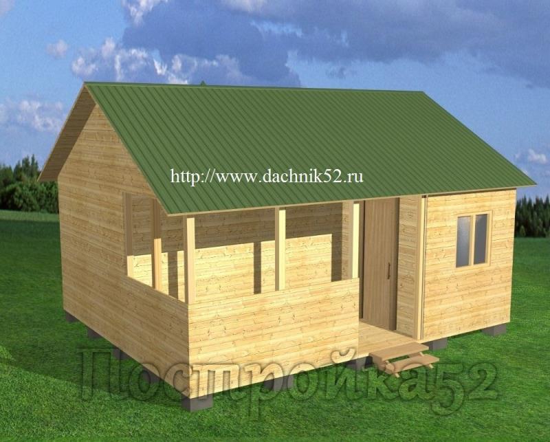 Каркасная баня 5х6 проект - Пихта 5 Дачник52.рф