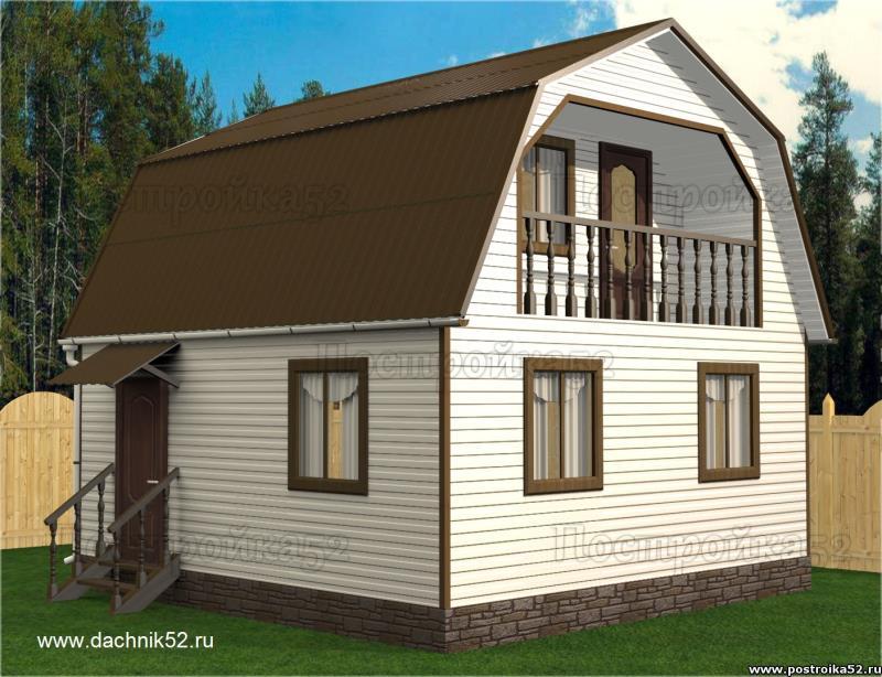 Каркасный дачный дом с мансардой 6х6 балконом проект Турпан 1