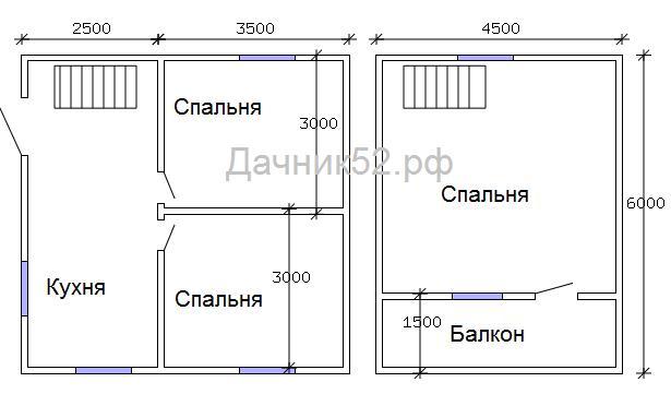 Планировка дачного дома 6х6 с мансардой постройКа52
