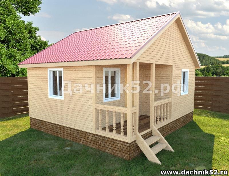 Каркасный дом 5х6м. Дачник52.рф