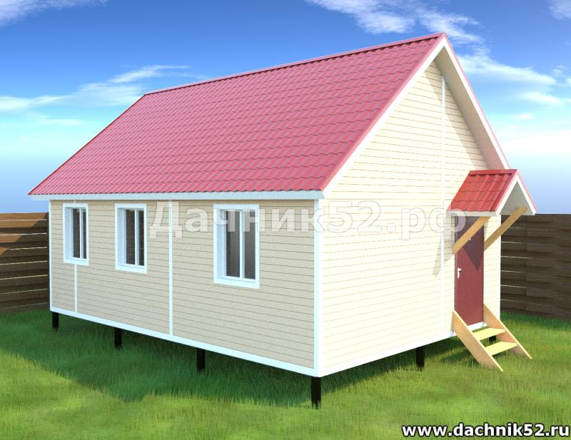 Каркасный дачный дом 5х7 проект Соло 7. Дачник52
