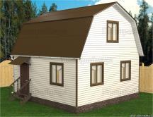 Каркасный дом 5х6 с мансардой четырёхскатной кровлей проект Пеликан 4 ПостройКа52 нижний новгород