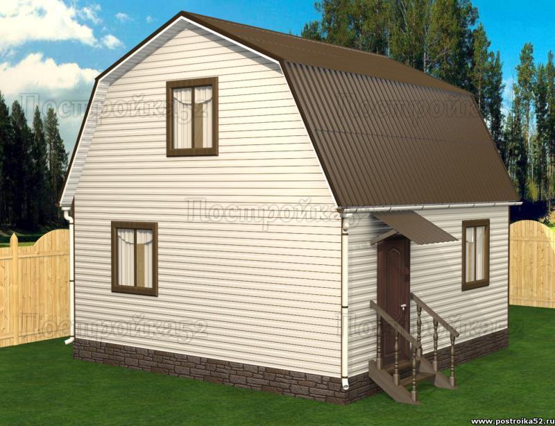 Проект дачного дома 5х6 двухэтажного с ломаной двухскатной кровлей проект Пеликан 4