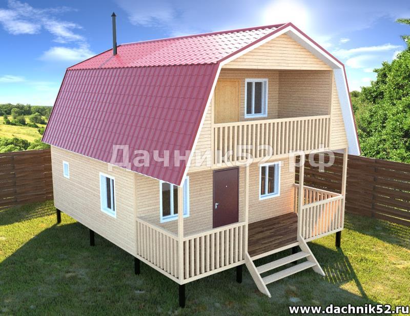 Двухэтажная баня 6х8