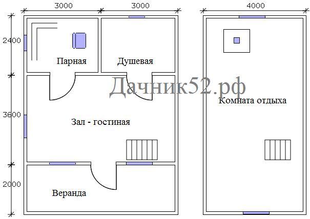 Двухэтажная баня 6х8 план