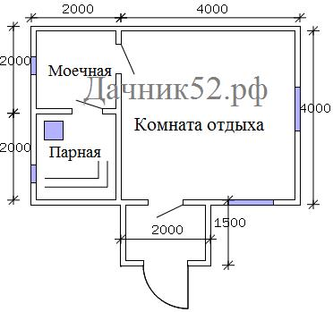 Баня с чердаком 4х6 план
