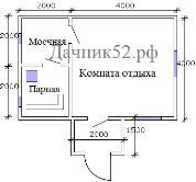 Баня прима 4х6м план