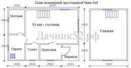 План помещений двухэтажной бани 6х8