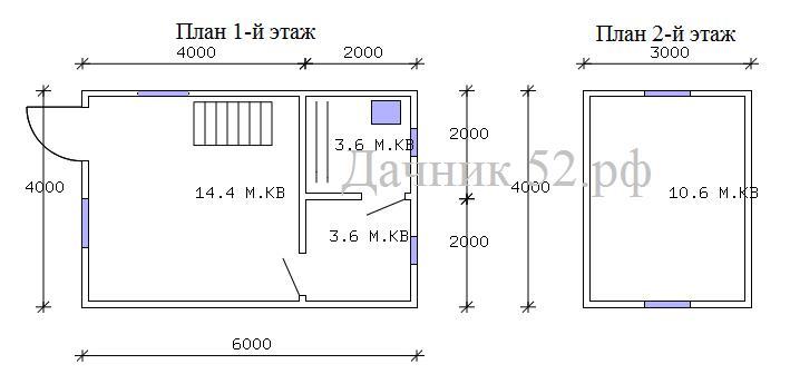 План баня 4х6 с мансардой