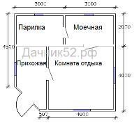 Планировка каркасной бани 6х6