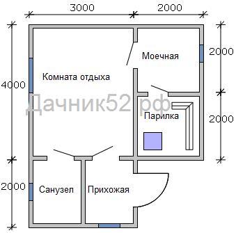 План каркасной бани 5х6