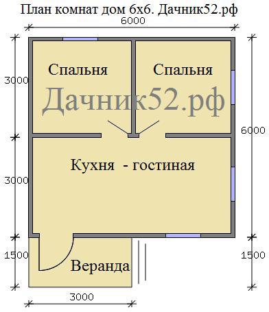 План комнат дома 6х6. Проект - Родник