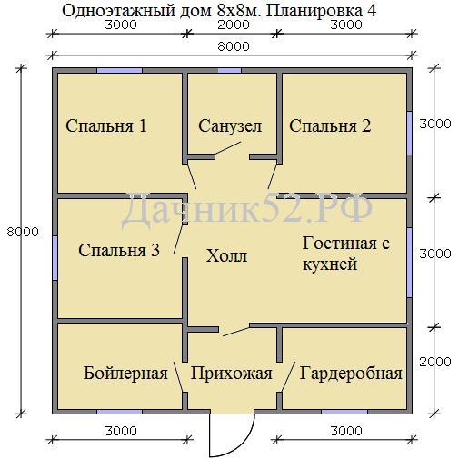 Каркасный дом 8х8м. Вариант 4