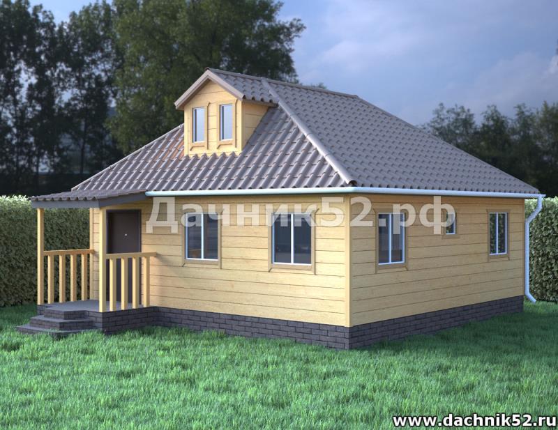 Каркасный дом с чердаком 8х8