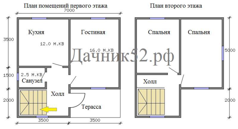 Планировка каркасного дома 7х7 полтора этажа с террасой