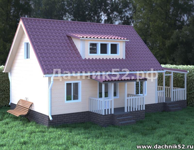 Каркасный дом 6х8 с мансардой Кремёнки 3