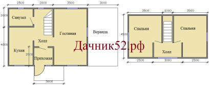 Планировка дома 6х8 с мансардой