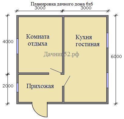 Планировка каркасного дома 6х6