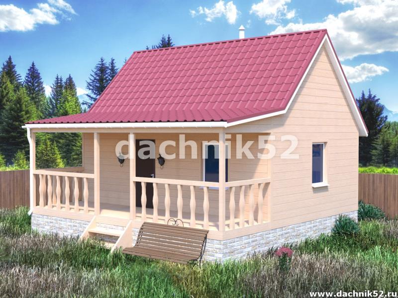 Одноэтажный каркасный дом 5х7 с верандой Дачник52.рф