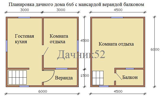 План дома 6х6 Рябинушка