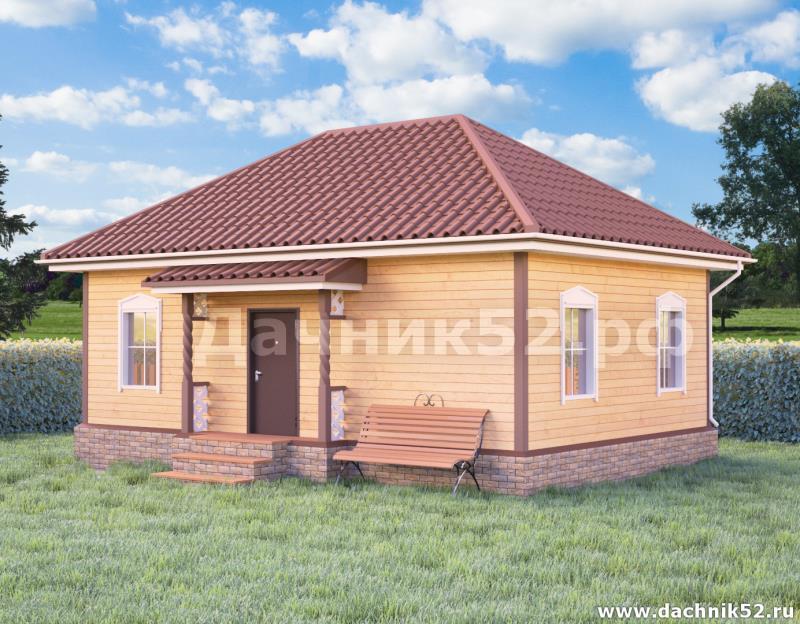 Каркасный дом 6х9 с вальмовой крышей проект Родник 3