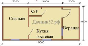 Планировка дома 4х9