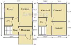 План дома 6х7 полтора этажа