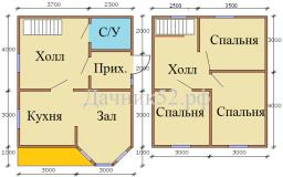 Планировка дома 6х7 полтора этажа с эркером