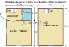 План дома 4х6 полтора этажа с санузлом