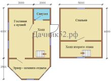 План дома 5х6 полтора этажа с эркером