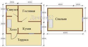 План дома 6х7 с мансардой