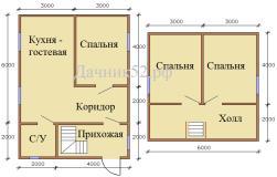 Планировка дома 6х8 Борский