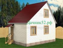 Каркасный дом 4х6 с мансардой Аист 6