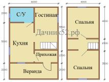 План дома 6х9 мансарда проект Кедр 3