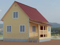 Каркасный дом полтора этажа 6х9 Терем 1