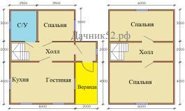 План дома полтора этажа 6х9 проект Терем1