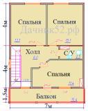 план дома 7х8 второй этаж