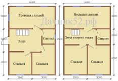 План дома 6х9 полтора этажа