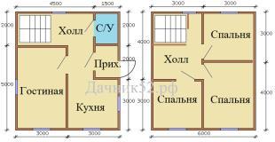Планировка дома 6х7 полтора этажа с тремя спальнями. Богатырь 2