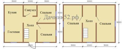 Планировка дома 6 на 8 проект Муромец