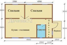 План дома 6х8 Рекшино