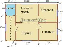 План дома 6х8 Рекшино 2