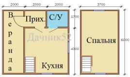 Планировка дома 6х6 с мансардой