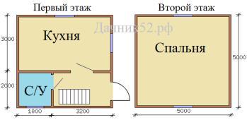 План дома 5х5 полтора этажа